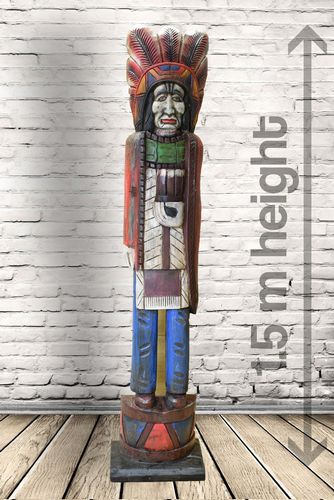 1.5m Hand Carved Wooden Red Indian